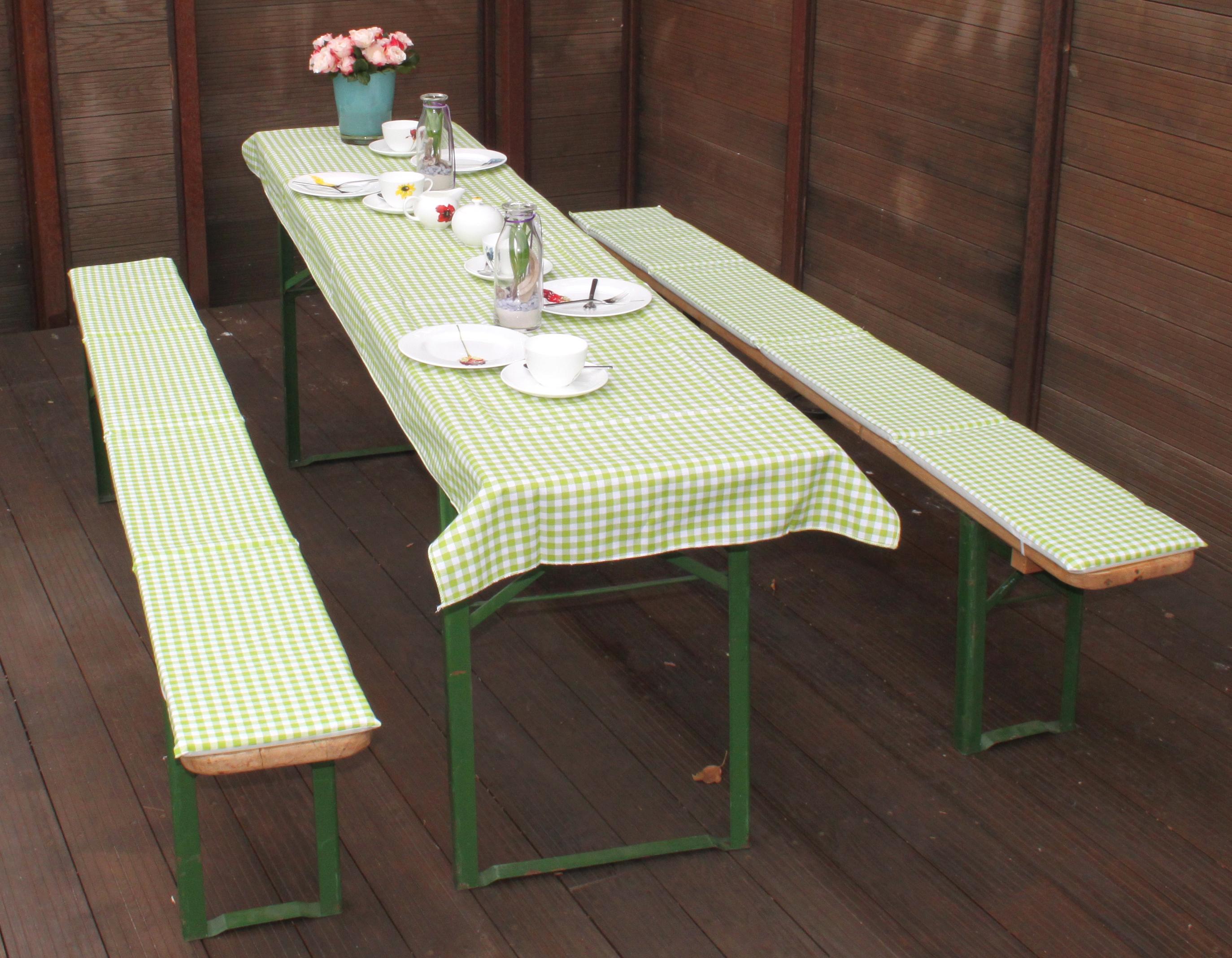 beo Festzeltauflagen-Set für Bierzeltgarnituren karo grün für Tische bis 80cm Breite