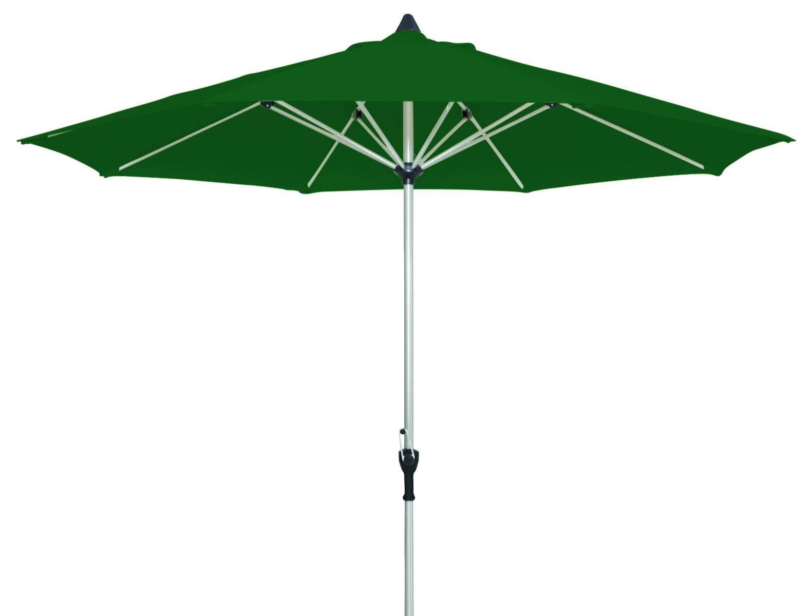 acapole Marktschirm rund 300cm mit Knickgelenk platin forest grün 6,4 kg ohne Fuss Aluminium Gestell Sonnenschutzfaktor 50+ mit wasserabweisendem Bezug aus Polyester 200g/m²