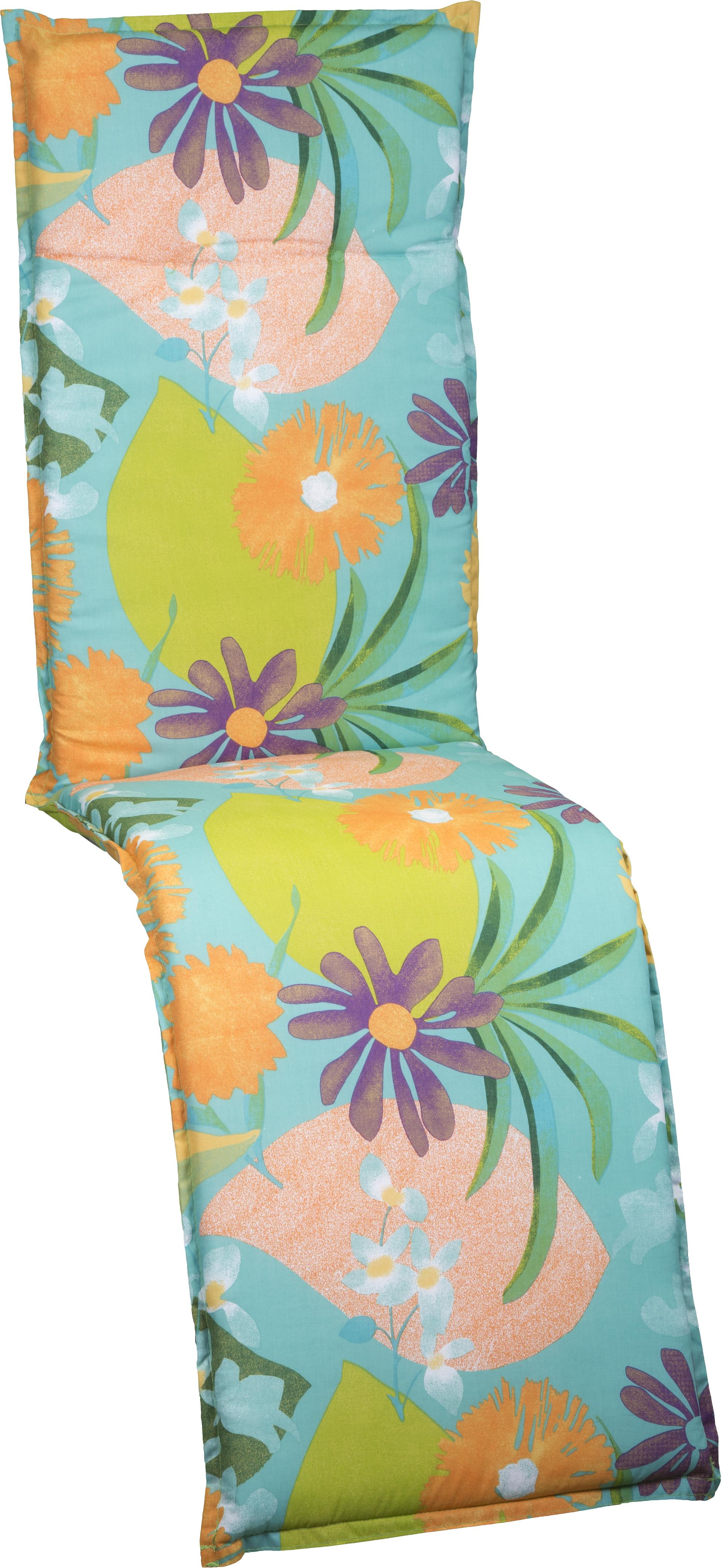 Aquarell Blumenmotiv Relaxstuhl Polster Design M701 orange, türkis, rosé und grün