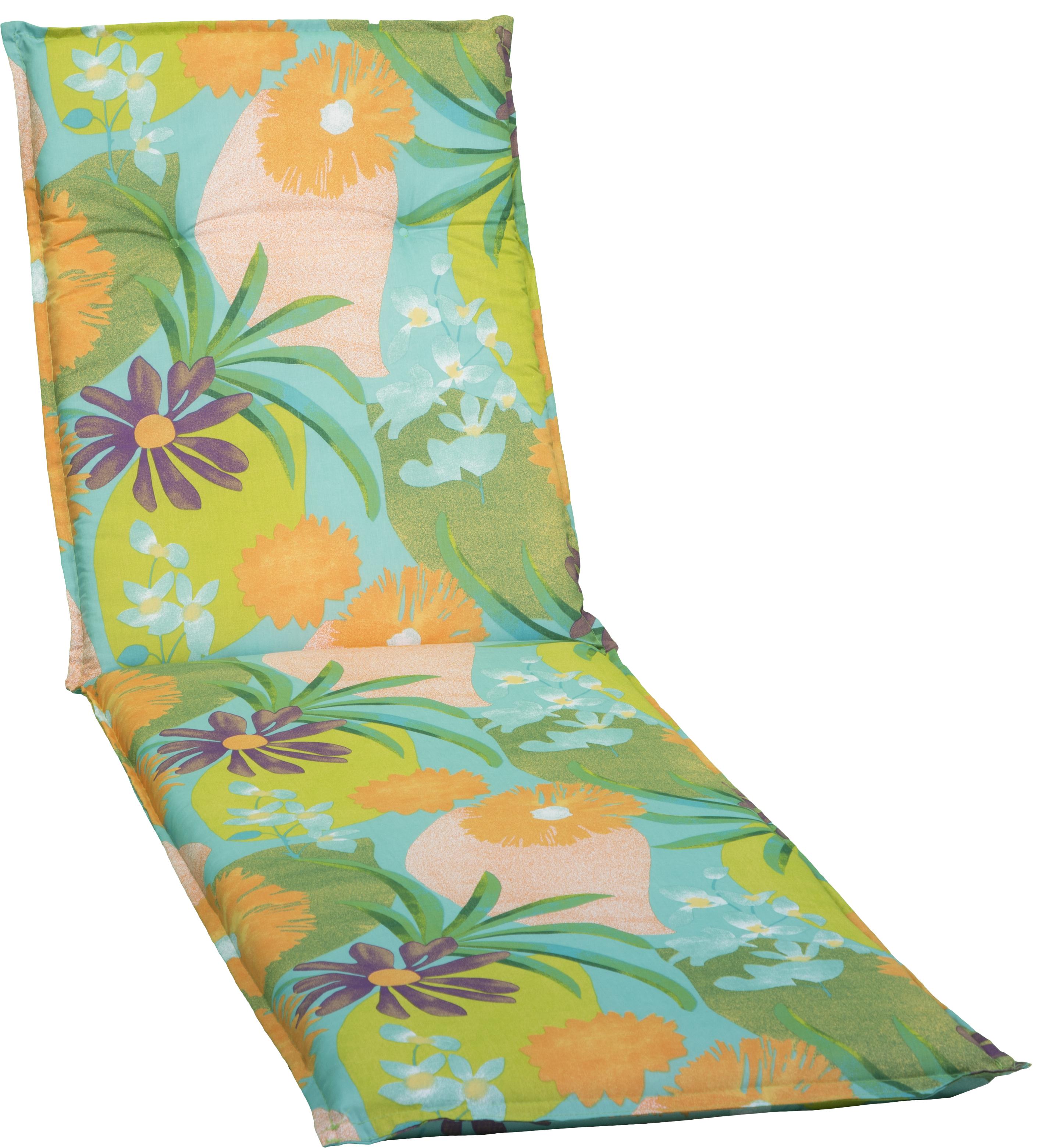 Aquarell Blumenmotiv Gartenliege Polster Design M701 orange, türkis, rosé und grün
