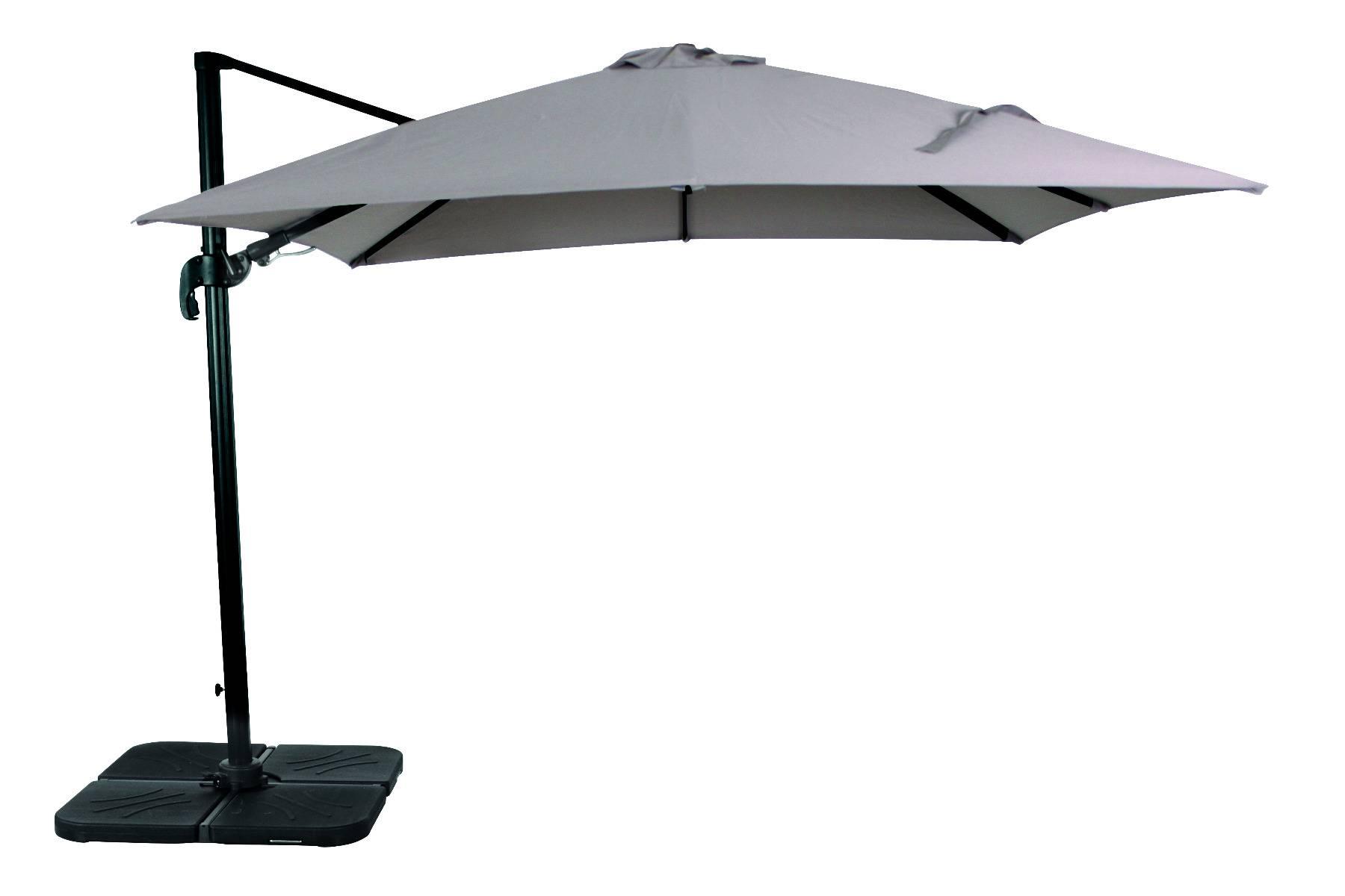 acamatic 3D Ampelschirm quadratisch 300x300 cm anthrazit taupe 25,8 kg mit Fuss ohne Platten Aluminium Gestell Sonnenschutzfaktor 50+ mit wasserabweisendem Bezug aus Polyester 200g/m²