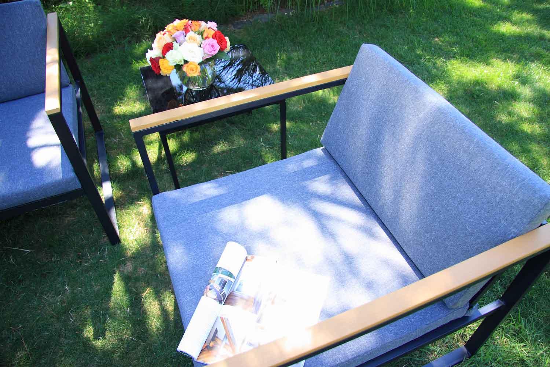 Space Lounge Set 5-teilig Stahl verzinkt pulverbeschichtet mit Polywoood Armlehnen