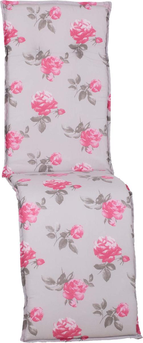 beo Gartenmöbel Auflage für Relaxstuhlkissen lebensechte Rosen auf zartem grau M909