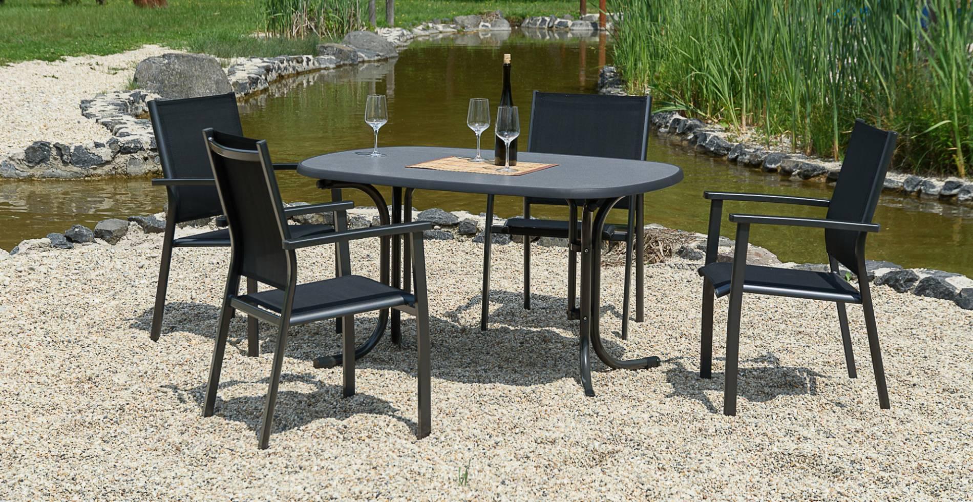 acamp Gartenmöbelset 4x Acatop Stapelsessel anthrazit nero 56006 und 1x Tisch 56609 Boulevard 146 x 94 cm