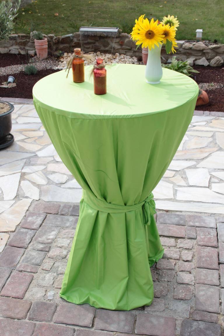 Stehtischhusse Stehtischüberwurf in hellgrün für Tische mit 80cm Durchmesser