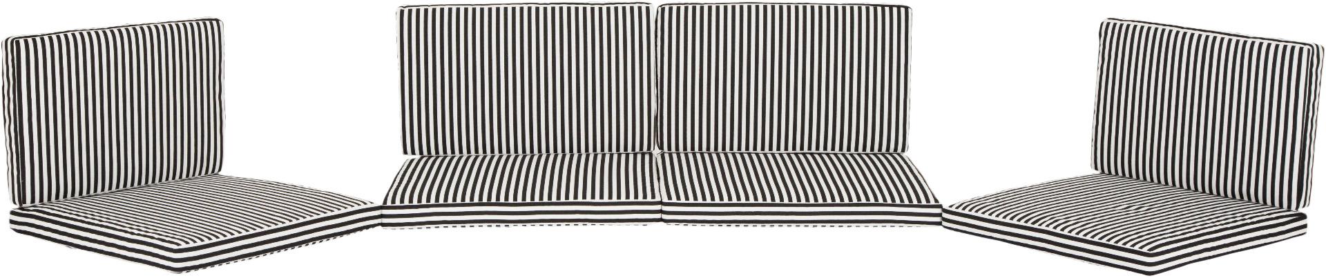 Ersatzkissen Set Lounge Gruppen Monaco im skandinavischen Streifen schwarz weiss mit Reissverschluss