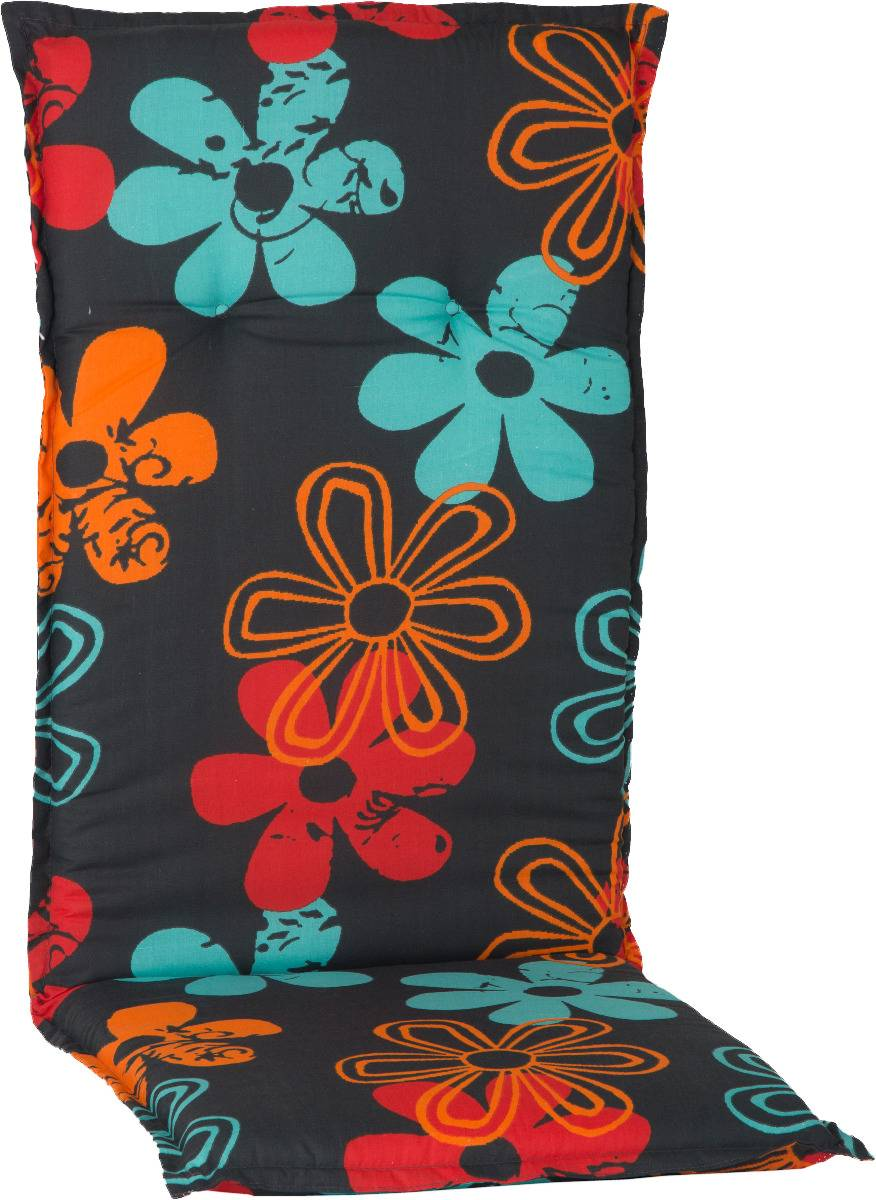 Gartenmöbel Auflage für Hochlehner in Blumen orange türkis rot