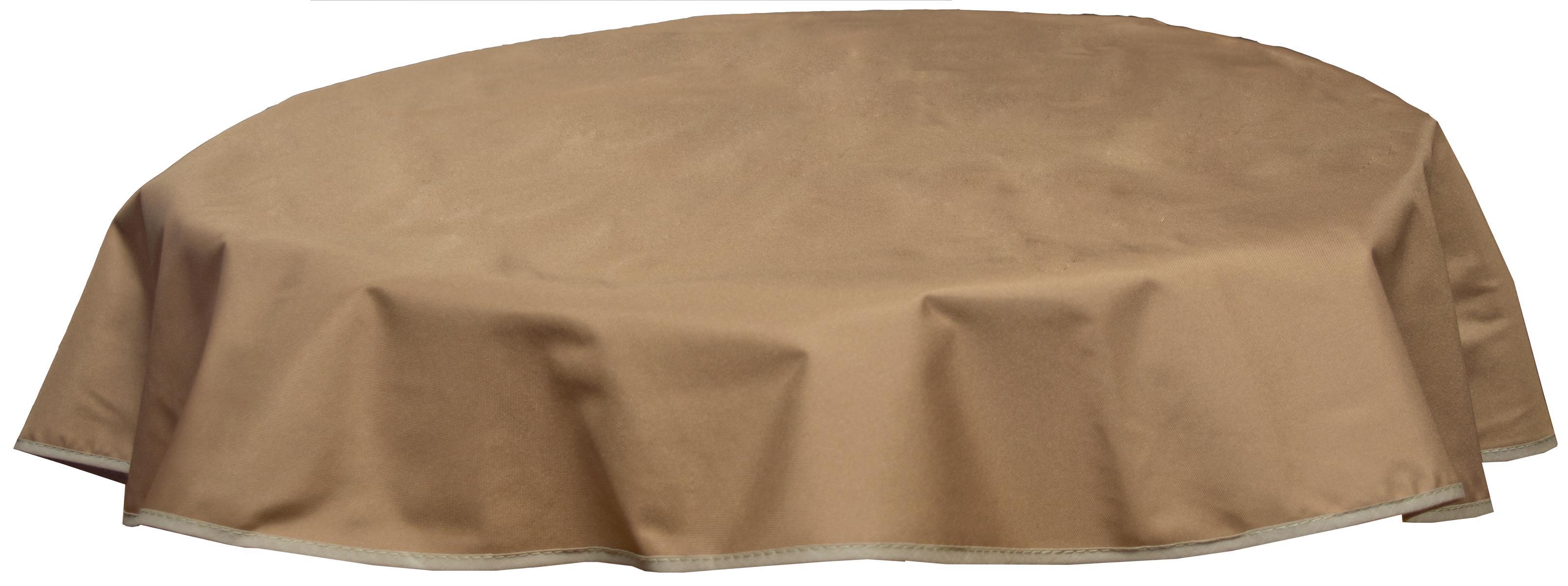 Runde Tischdecke 120cm wasserabweisend 100% Polyester in sand