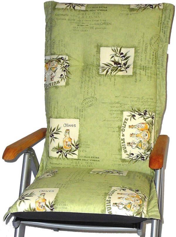 Auflage für Hochlehner Gartenstuhl Oliven Motiv hellgrün