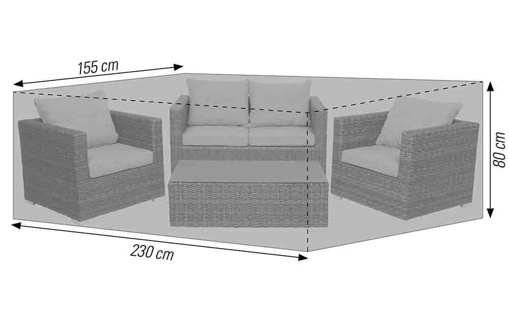 Schutzhülle für Lounge Sets 230x155x80 cm anthrazit acamp cappa Typ 57725