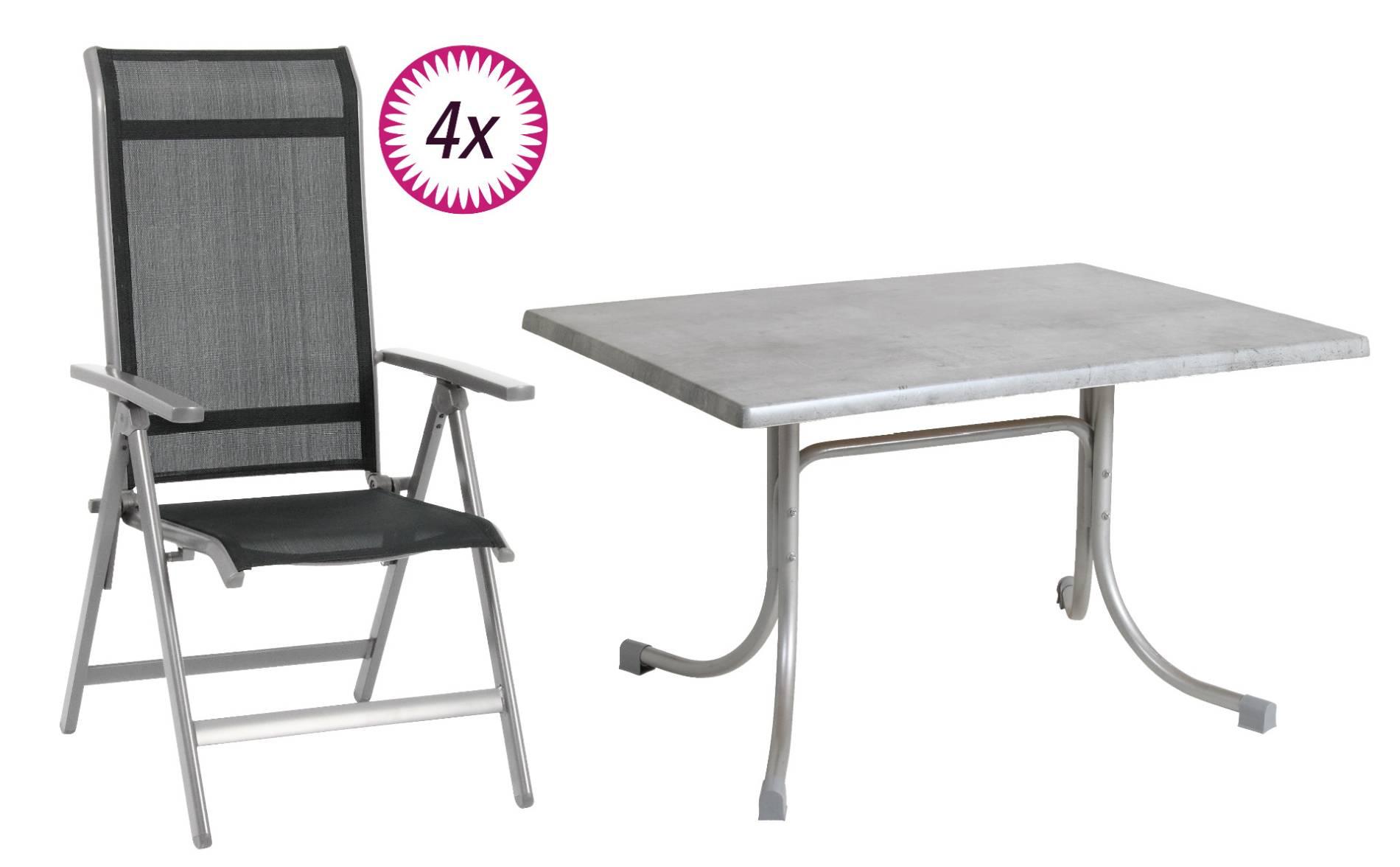 5-teiliges Gartenmöbel Set 4 Klappsessel Tisch 120x80 cm