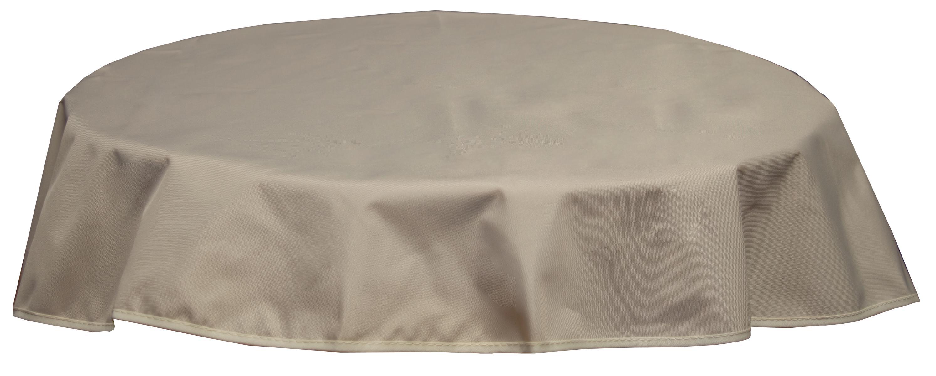 Runde Tischdecke 120cm wasserabweisend 100% Polyester in beige