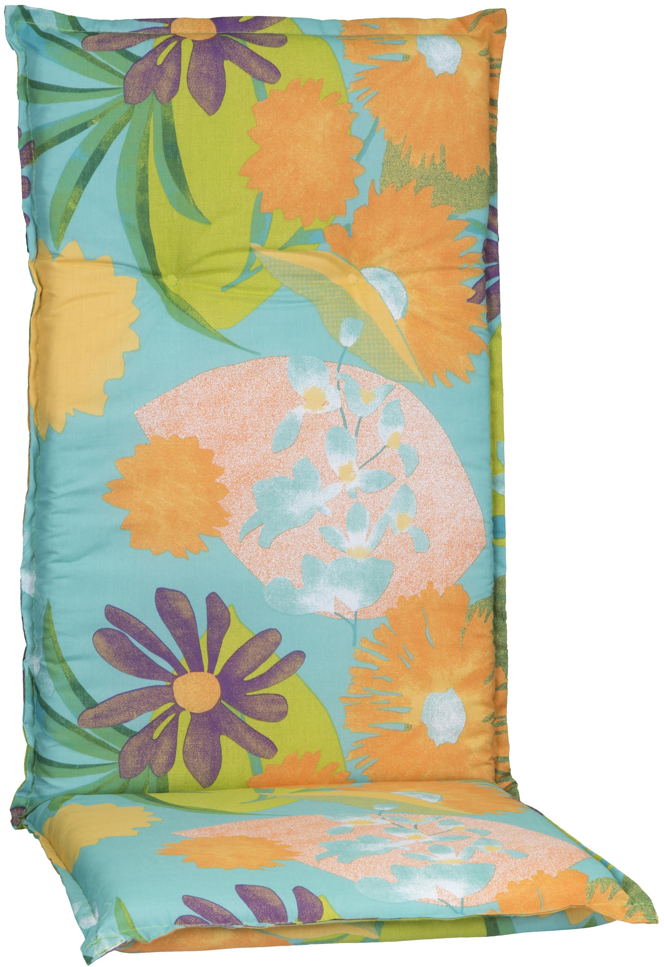 Aquarell Blumenmotiv Hochlehner Polster Design M701 orange, türkis, rosé und grün
