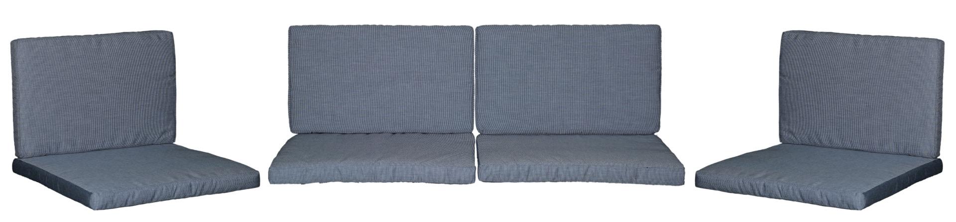 Ersatzkissen Set Lounge Gruppen Monaco in grau blau Streifen Dralonstoff mit Reissverschluss